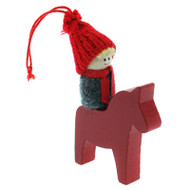 Tomte-Santa Boy on Dala Horse Ornament - Wooden (46237)