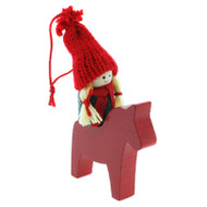Tomte-Santa Girl on Dala Horse Ornament - Wooden (46238)