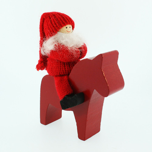 Tomte-Santa Boy on Wooden Dala Horse (46746)
