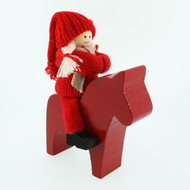 Tomte-Santa Lady on Wooden Dala Horse (46747)