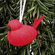 Red Bird Wooden Tree Ornament (44182R)