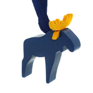 Wooden Moose Ornament - Blue (44302B)