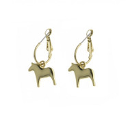 Dala Horse Round Earrings - Gold (62917)
