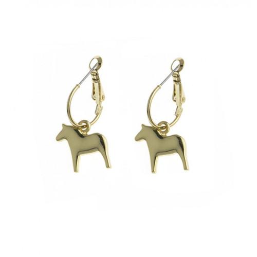 Dala Horse Round Earrings - Gold (62917)