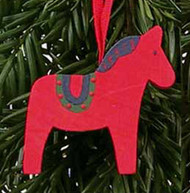 Dala Horse Wooden Ornament - Red (44708R)