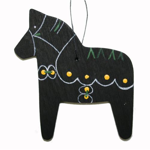 Dala Horse Wooden Ornament - Black (887BLK)