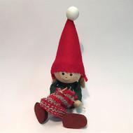 Tomte-Santa Girl Sitting, Knitting (26115)