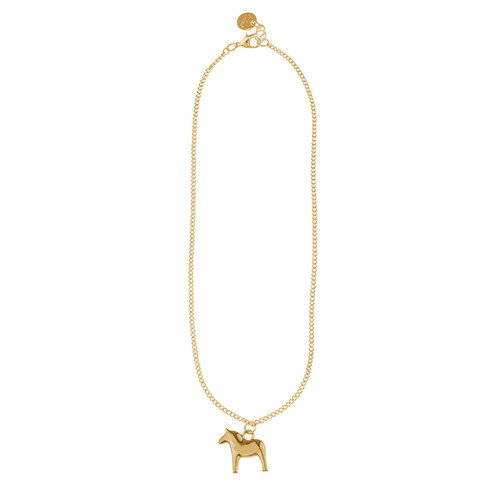 "Dala Horse - Gold Pendant/Necklace - 34"" (62942)"