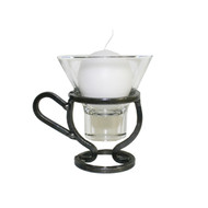 Iron Candleholder w/Glass Cup - Coffee Cup (91-0124)