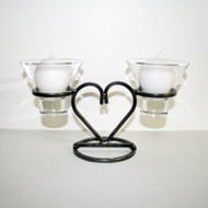 "Iron Candleholder w/Glass Cups - Large Heart - 6 1/4"" x 9 1/2"" (91-0506)"
