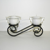 "Iron Candleholder w/Glass Cups - Low Double - 5"" x 9 1/4"" (91-0507)"
