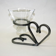Iron Candleholder w/Glass Cup - Hearts (91-1102)