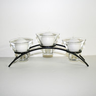 "Iron Candleholder w/Glass Cups - Arch Triple - 5 1/2"" x 13 3/4"" (91-1389)"