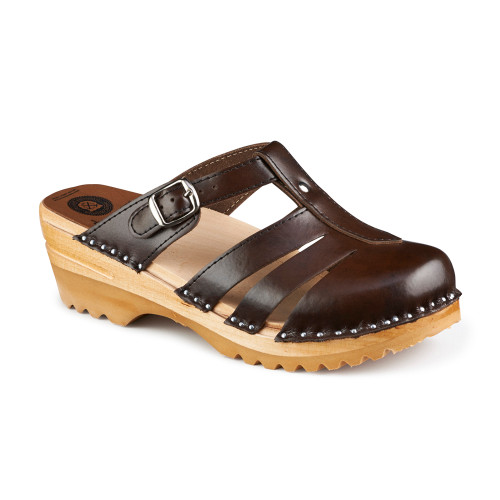 Mary Jane Clog-Sandals in Cola Brown (6077-017)