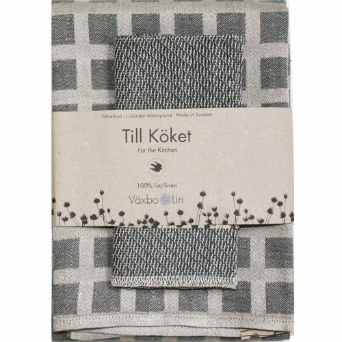 Linen Disktrasa Dishcloth and Towel Set - Graphite (84-16)