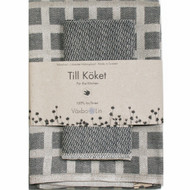 Linen Disktrasa Dishcloth and Towel Set - Graphite (84-16)