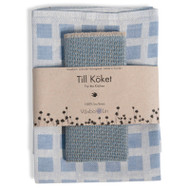 Linen Disktrasa Dishcloth and Towel Set - Light Blue (84-20)