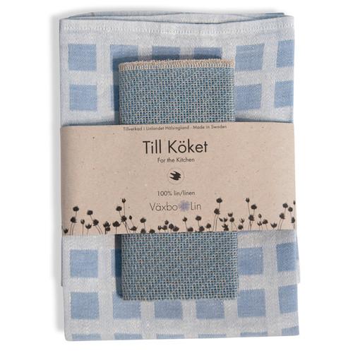 Linen Disktrasa Dishcloth and Towel Set - Light Blue (84-20)