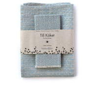 "Linen ""Snackskal"" Towel & Dishcloth Set - Light Blue"