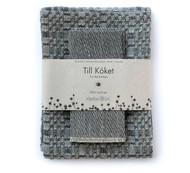 "Linen ""Snackskal"" Towel & Dishcloth Set - Graphite Grey"
