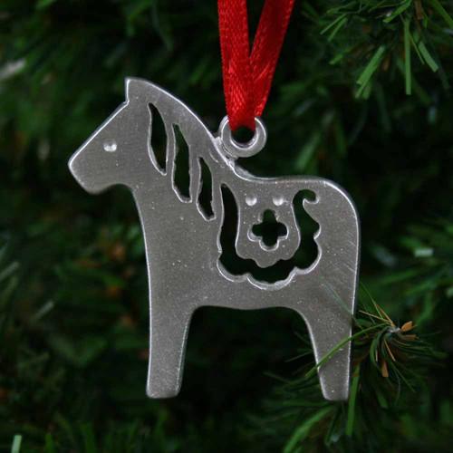 Dala Horse Ornament - Pewter (PO-10)