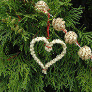Straw Christmas Tree Garland - Hearts & Stars (H1-901-2)