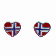 "Norway Flag Sterling Silver Earrings (Posts) - 1/2"" (780436)"