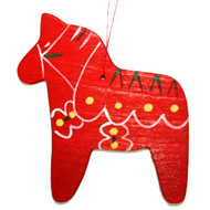 Dala Horse Ornament - Wooden - Red - (887R)