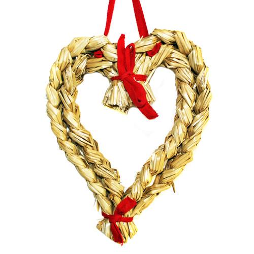 "Straw Heart w/Ribbon - 10"" (H1-136)"