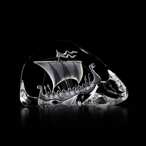 Viking Ship (Medium)- Clear - by Mats Jonasson (33760)