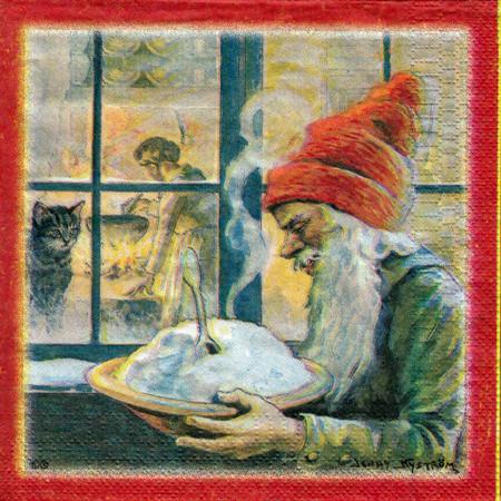 Tomte with Porridge Luncheon Napkins (11091801A)