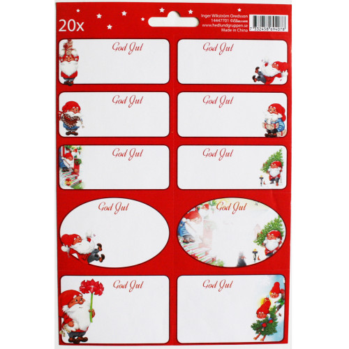 Tomte Nisse Christmas Sticker/labels - Inger Wikstrom Oredsson - 20 Pack (12109301A)