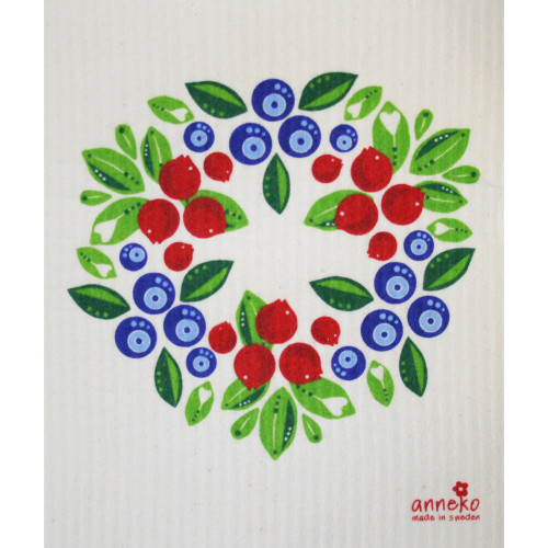 Swedish Dishcloth - Berry Wreath (DT1614)