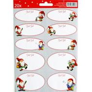Christmas Gift Labels - Scandinavian Santa Nisse - Asa Gustafsson - 20 Pack (12109301D)