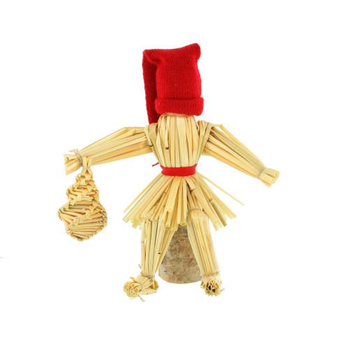 "Straw Tomte-Santa on Block of Birchwood - 5.5"" (3817)"