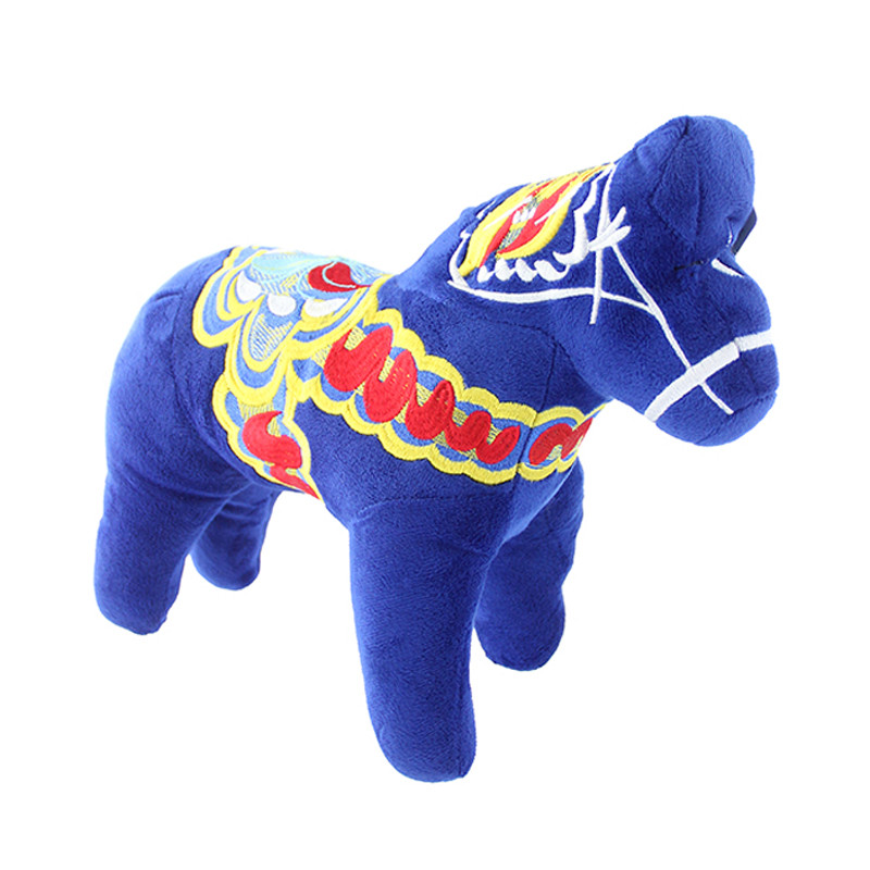 Dala Horse Stuffed Animal Plush Toy Blue Scandinavianshoppe