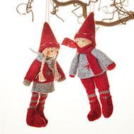 Pixy Boy and Girl Ornaments - Set of 2