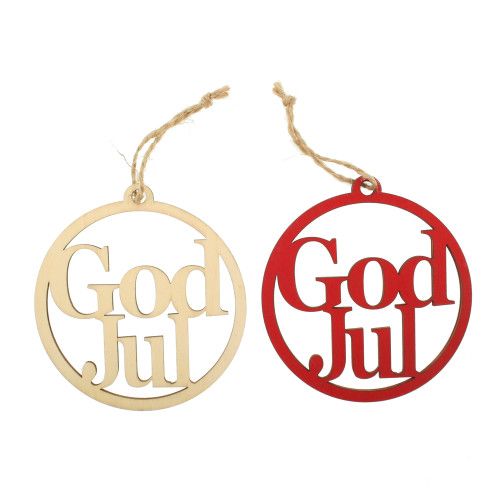 Wooden Laser Christmas Ornaments - God Jul - 6 pk. Set (7360G)