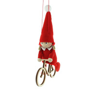 "Tomte-Santa Girl on Bike - 7.5"" (26301)"