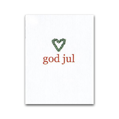God Jul Heart Wreath Gift Card (J12)