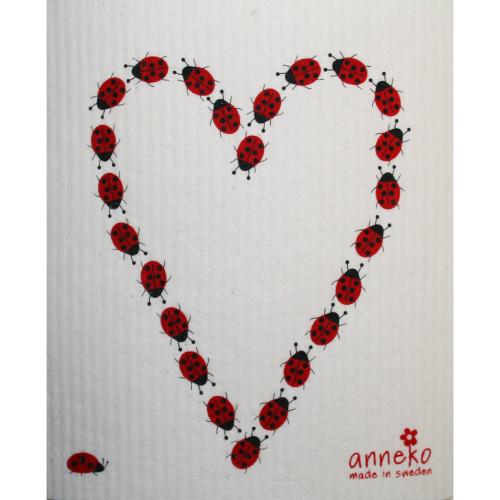 Swedish Dishcloth - Ladybug Heart (DT1404)