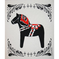 Swedish Dishcloth - Black Dalahorse (86403)
