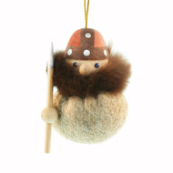 Viking Ornament - Beige - Wooden w/Felt Body (26243)