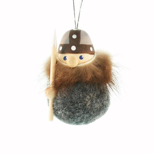 Viking Ornament - Grey - Wooden w/Felt Body (26244)