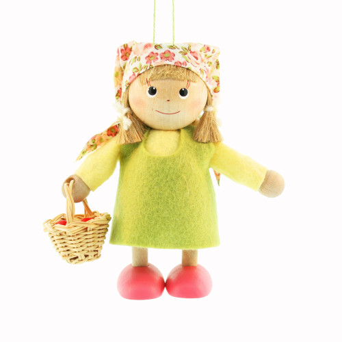 "Girl with Basket Ornament - 4"" - Green Dress (26252)"