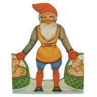 Paper Cutout - Christmas Tomte with Pigs in Basket (BK-23)