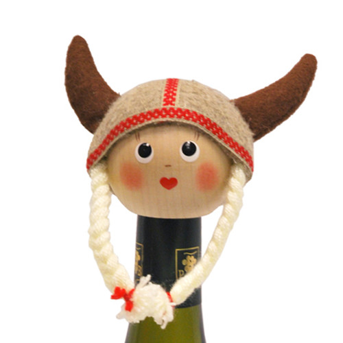 "Viking Girl Bottle Topper - 4"" - Wooden/Felt (26248)"