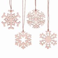 "Nordic Wooden Snowflake Ornaments - 4 Piece Set - 4"" (129083)"