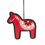 "Dalahorse Wood with Felt Back Ornament - 5"" (140307)"