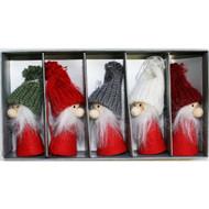 Tomte-Santa Nordic Gnome Ornaments - 5 Pack (H1-2108)